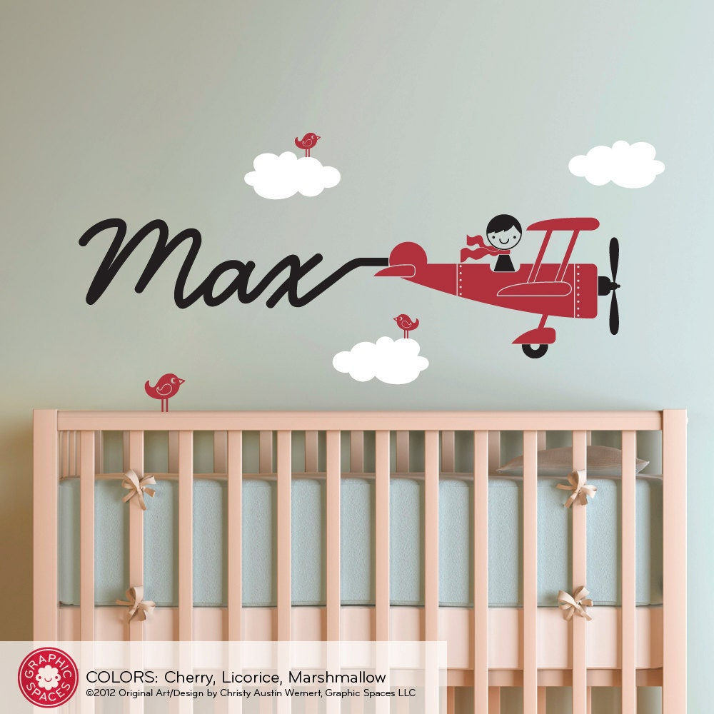 Airplane Decal Boy Name Skywriter Children By Graphicspaces