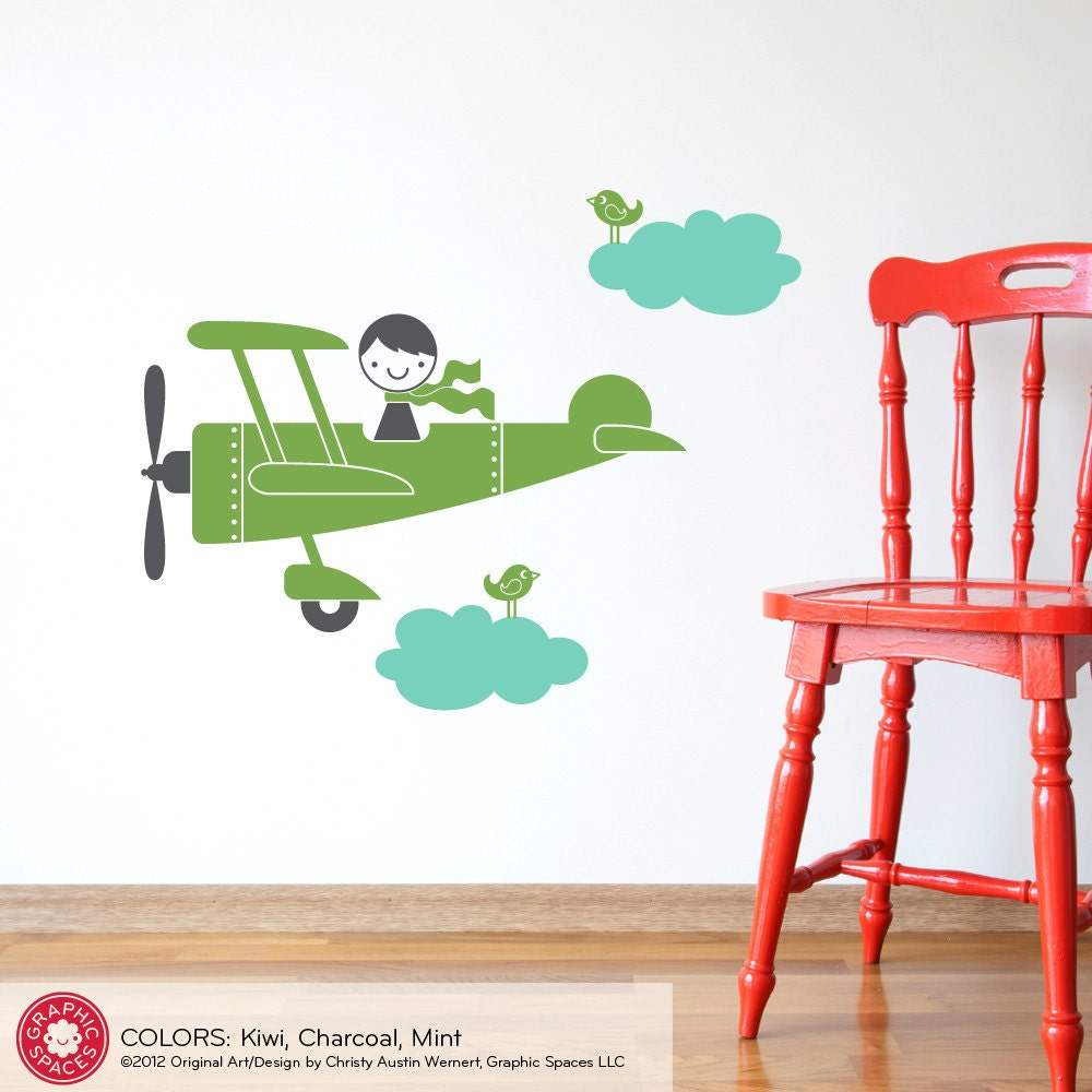 Kids Airplane Boy Wall Decal Baby Nursery Travel Theme