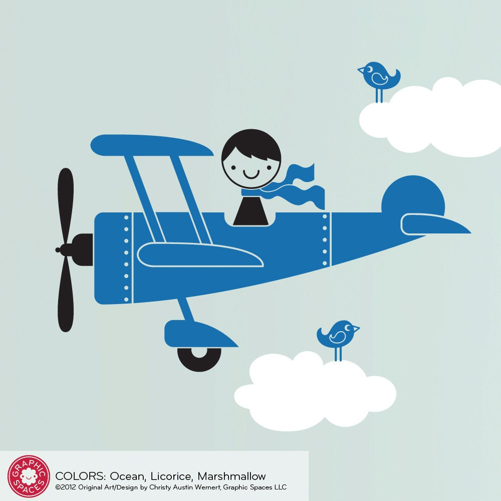 Airplane Wall Decal Cute Airplane Baby Boy Nursery Wall