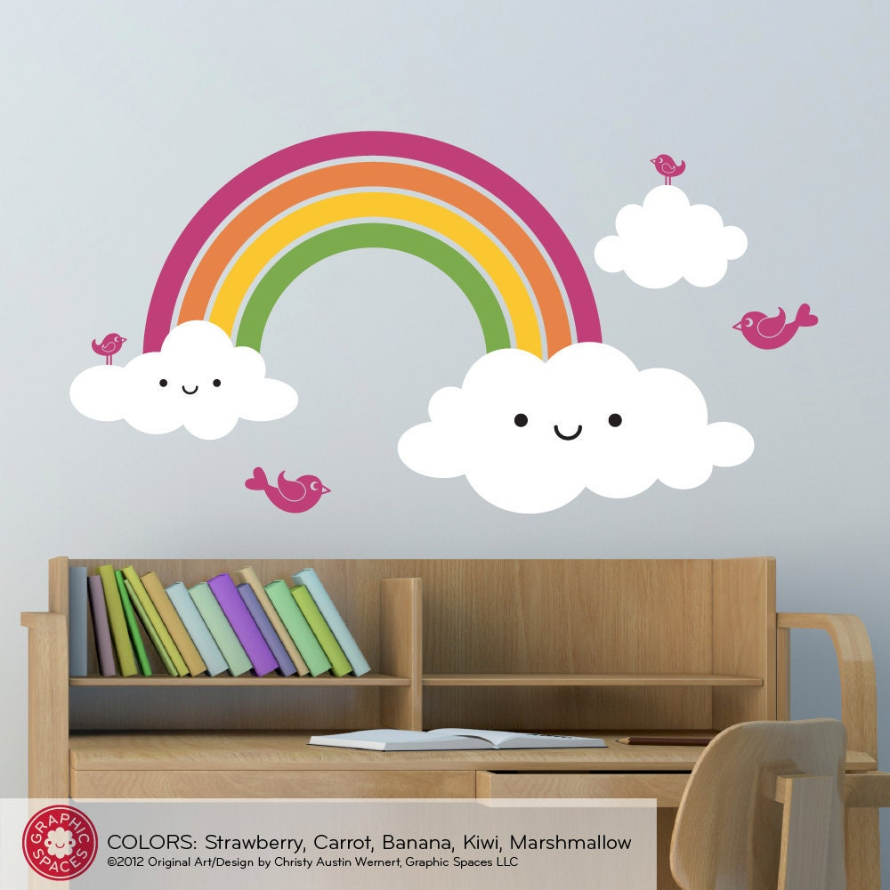 Nursery happy rainbow wall decal kids rainbow by for Rainbow kids room