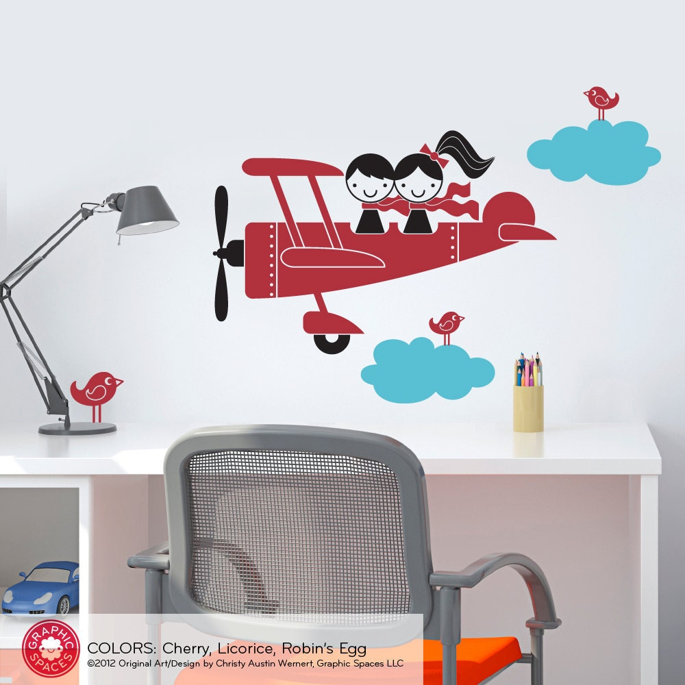 Kids airplane wall decal twin seater baby nursery sibling for Airplane wall mural