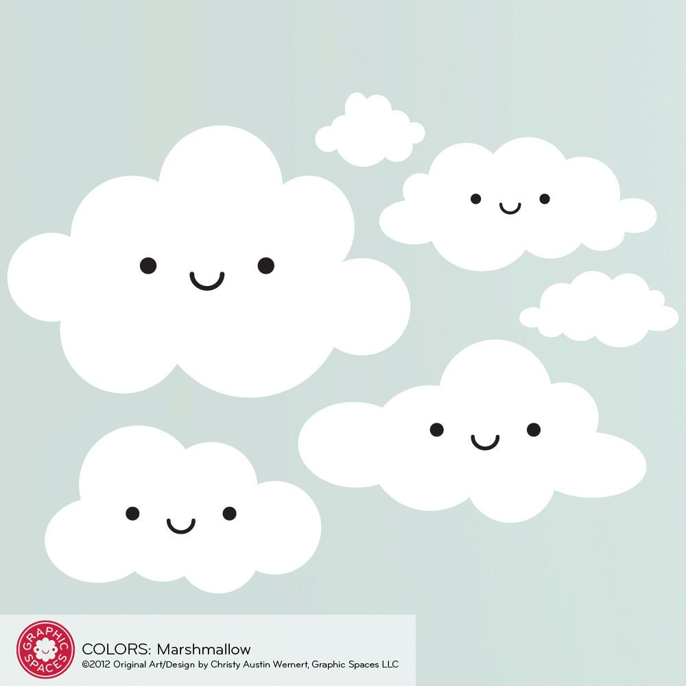 Happy cloud wall decal baby nursery kids kawaii room decor zoom amipublicfo Gallery