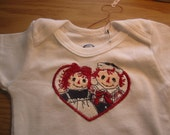 Raggedy Ann and Andy Baby Onesie size 3 to 6 mo.