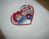 RAGGEDY ANN AND ANDY EMBROIDERED ON WHITE TOWEL..SOOO CUTE