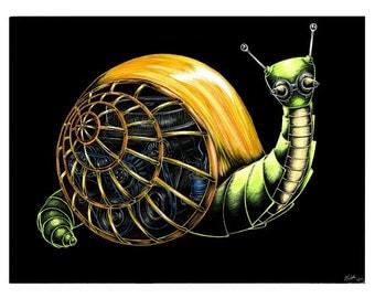 Robot Snail Lithograph Print