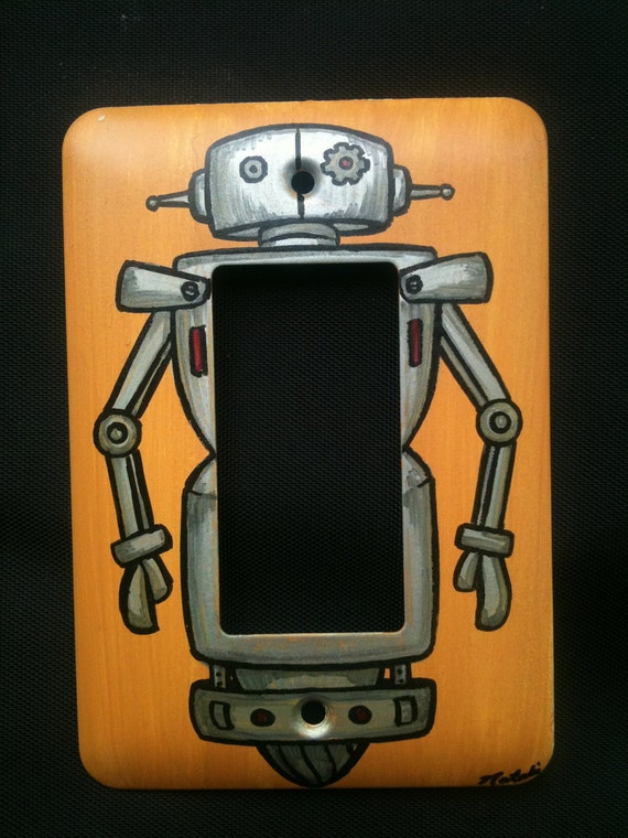 Hand Painted Modern Robot Light Switch Plate - Signed & Numbered by Artist