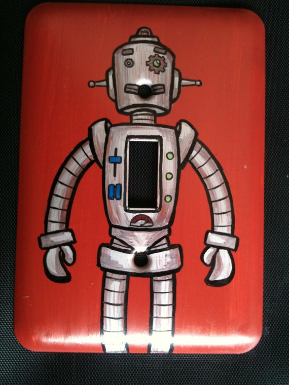 Hand Painted Robot Light Switch Plate - Signed & Numbered by Artist