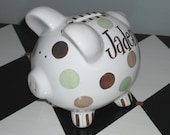 Woodsy Dots Piggy Bank Piglet Size - Personalized Bank - Hand Painted