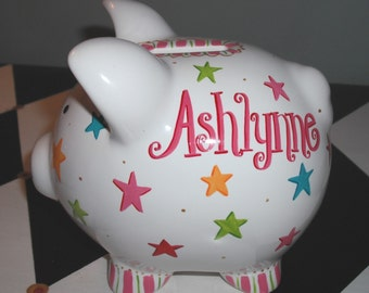 Piggy Bank Size Small Stars Design Girl's Hand Painted Personalized Piggy Bank