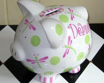 Personalized Piggy Bank Dragonflies Pink and Lime Size Large