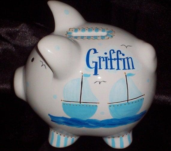 Sailboat piggy bank - Nautical piggy bank ...