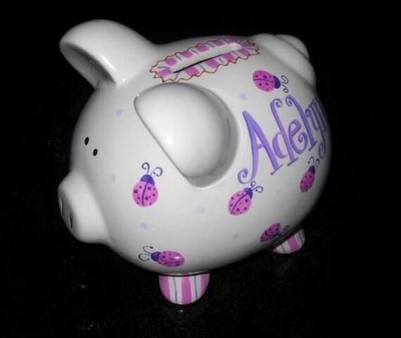 Girly Ladybug Piggy Piglet Size Hand Painted Personalized Piggy Bank Purple Design