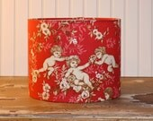 Drum Lamp Shade Lampshades Red French Celestial Cherub