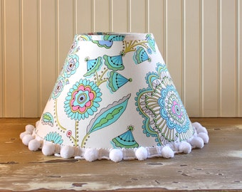SALE -Floral Lamp Shade - Lampshade - Nursery - Girls Lamp Shade - Lampshade -Pink Aqua Lamp Shade - Cottage - Whimsical - Designer Shade