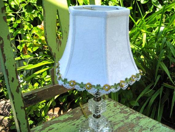 SALE - White Damask Lamp Shade Lampshades Vintage