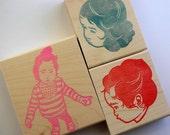 portrait hand carved rubber stamp