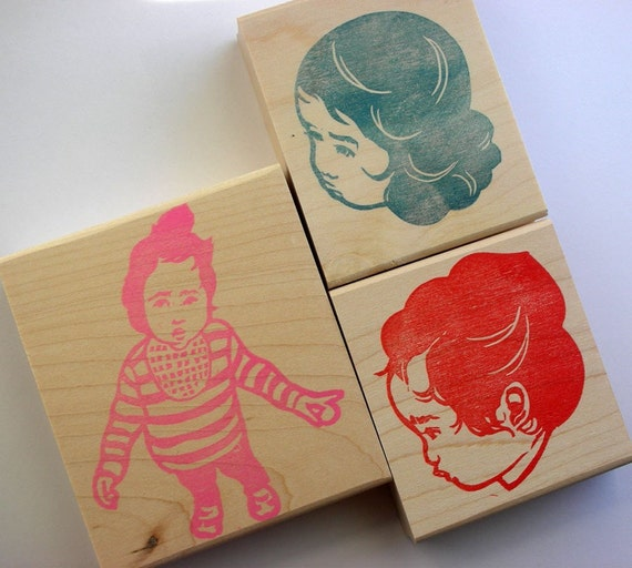 portrait hand carved rubber stamp