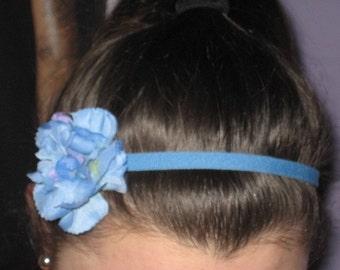 Sky Blue Elastic Headband with Blue Carnation Flower