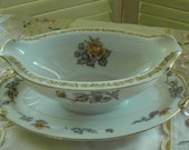 COTTAGE COUNTRY CHARM - VIntage Porcelain Gravy Boat - Yellow Roses Too