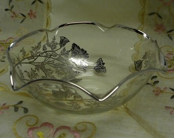 ELEGANT and CHIC - Platinum Gilded Vintage Ornage Floral Bowl