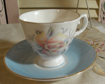 Crumpets with your Tea - Vintage Fine Bone China TeaCup and Saucer - ROYAL GRAFTON - England - Cottage Charm