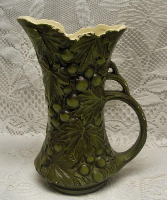 PEEL ME A GRAPE - Italain Style Vintage Green Ornate Pitcher - Vase