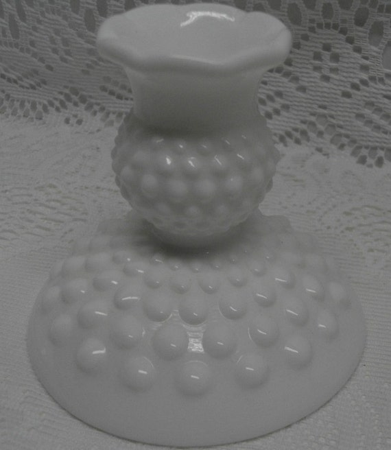 HOBNAIL MILKGLASS Candle Holders - Set of 2 -FENTON - Charming - Country French