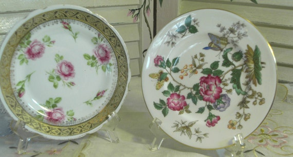 SHABBY COTTAGE CHARM - Lovely Vintage Porcelain Snack Plates - Mixed lot of 2 - England and Bavaria