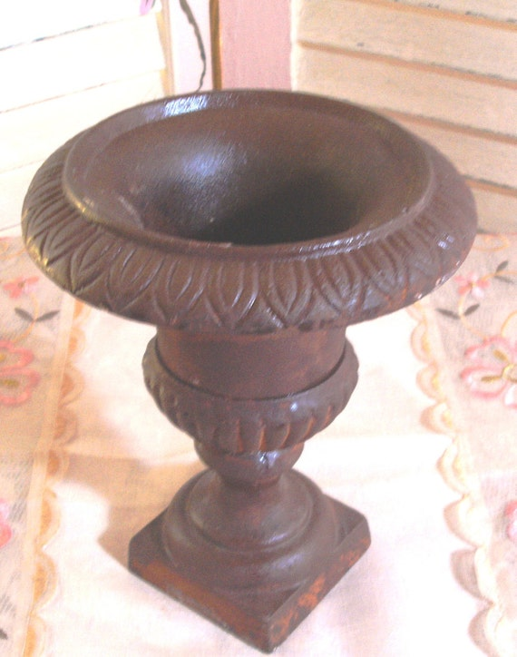 FANTASTIC Vintage Cast Iron Urn - Planter - Rustic - Great Patina - SHABBY COTTAGE