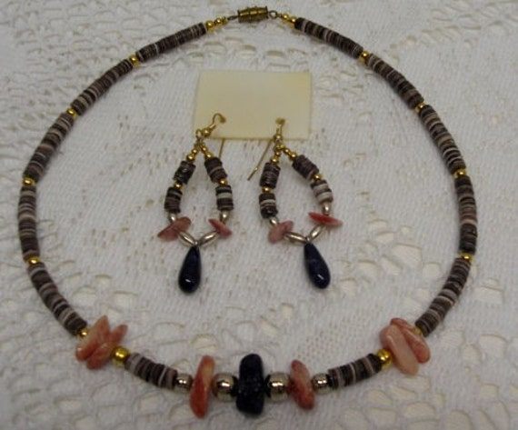 Reserved for Rob -NECKLACE and EARRING SET Vintage Silver and Gold -  Pink Mother of Pearl, Blue Sodalite