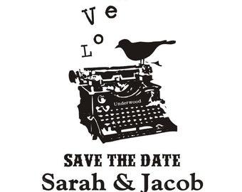 Vintage Typewriter Save the Date Stamp