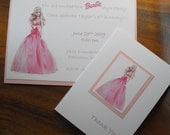 Barbie Birthday Set - Invitations and thank you cards
