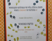 Animal tracks woodsy party invitation