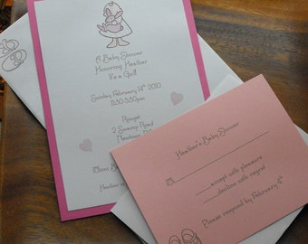 Baby Girl Shower invite with response card