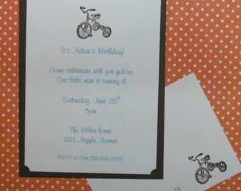 Little embossed tricycle invitation set