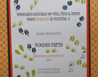 Animal tracks woodsy party invitation