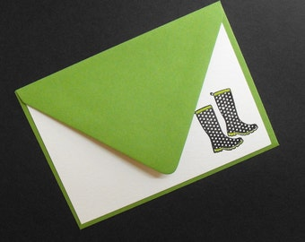 Chic black rainboot noteset with green envelopes