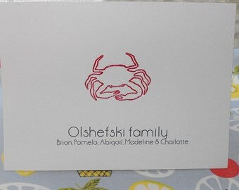 Family personalized crab notecard set