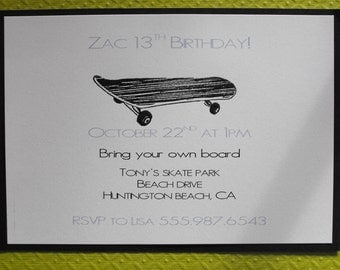 Skater birthday invitation boy or girl