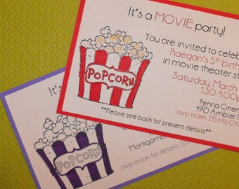 Movie night birthday/party invites