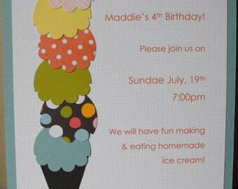Ice Cream Invitation - Handmade