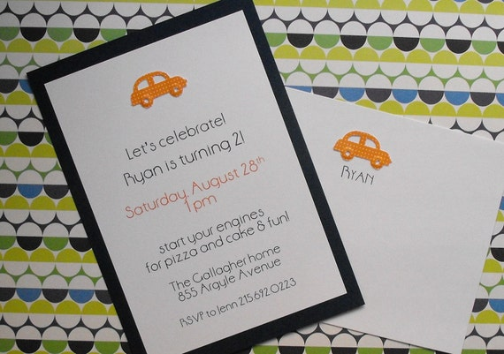 Car birthday invite and thank you cards