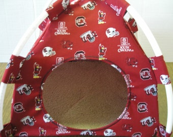Large Handmade USC Gamecocks Print Fabric Pup Tent Pet Bed for cats/ dogs/ferrets/piggies /A toy box/ Barbiie Doll House