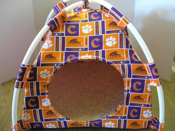 Large Handmade Clemson Tigers Pup Tent Pet Bed For Cats / Dogs / Ferrets / Piggies Or Used For A Toy Box / Barbie Doll House