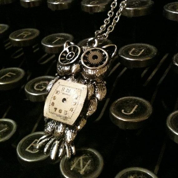 Steampunk clockwork owl necklace