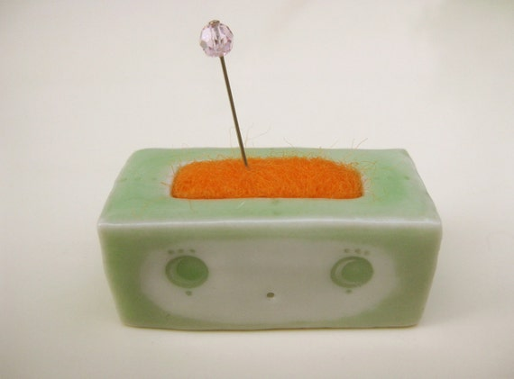 SALE Tiny Boxy Pincushion-tangerine