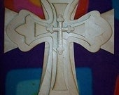 UNFINISHED WOOD LAYERED stack crosses kit style 53 - 15''