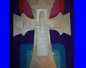 Unfinished wood layered CROSSES KIT style1 FDL 12'' x 15''