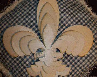 Unfinished Wood Layered STACK Fleur de Lis SHAPES KIT - 15''