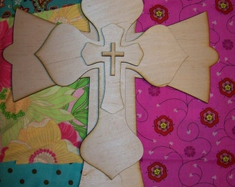 Unfinished wood layered STACK CROSSES KIT style 458 - 15''